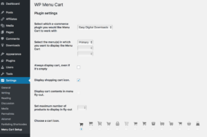 WP Menu Cart Settings